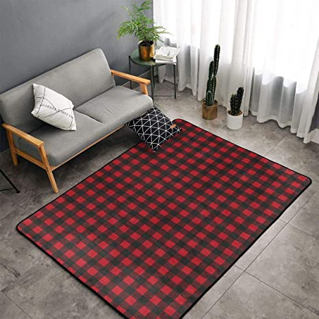 Red Black Buffalo Check Plaid Pattern Kitchen Rugs Memory Foam Floor Pad  Rugs with Anti-Slip Rubber Backing, Fast Dry Toilet Bath Rug Nursery Rugs  ...