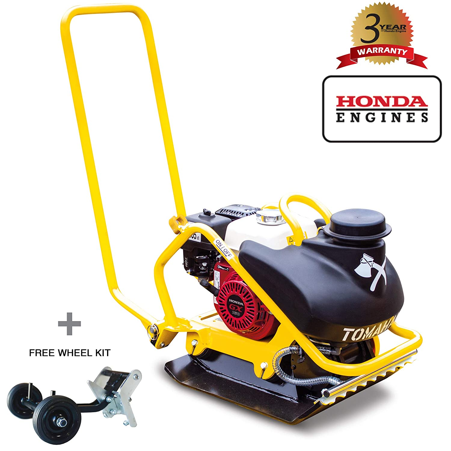 Tomahawk 5.5 HP Honda Vibratory Plate Compactor Tamper for Dirt, Asphalt, Gravel, Soil Compaction with 3.5 Gallon Water Tank and GX160 Engine