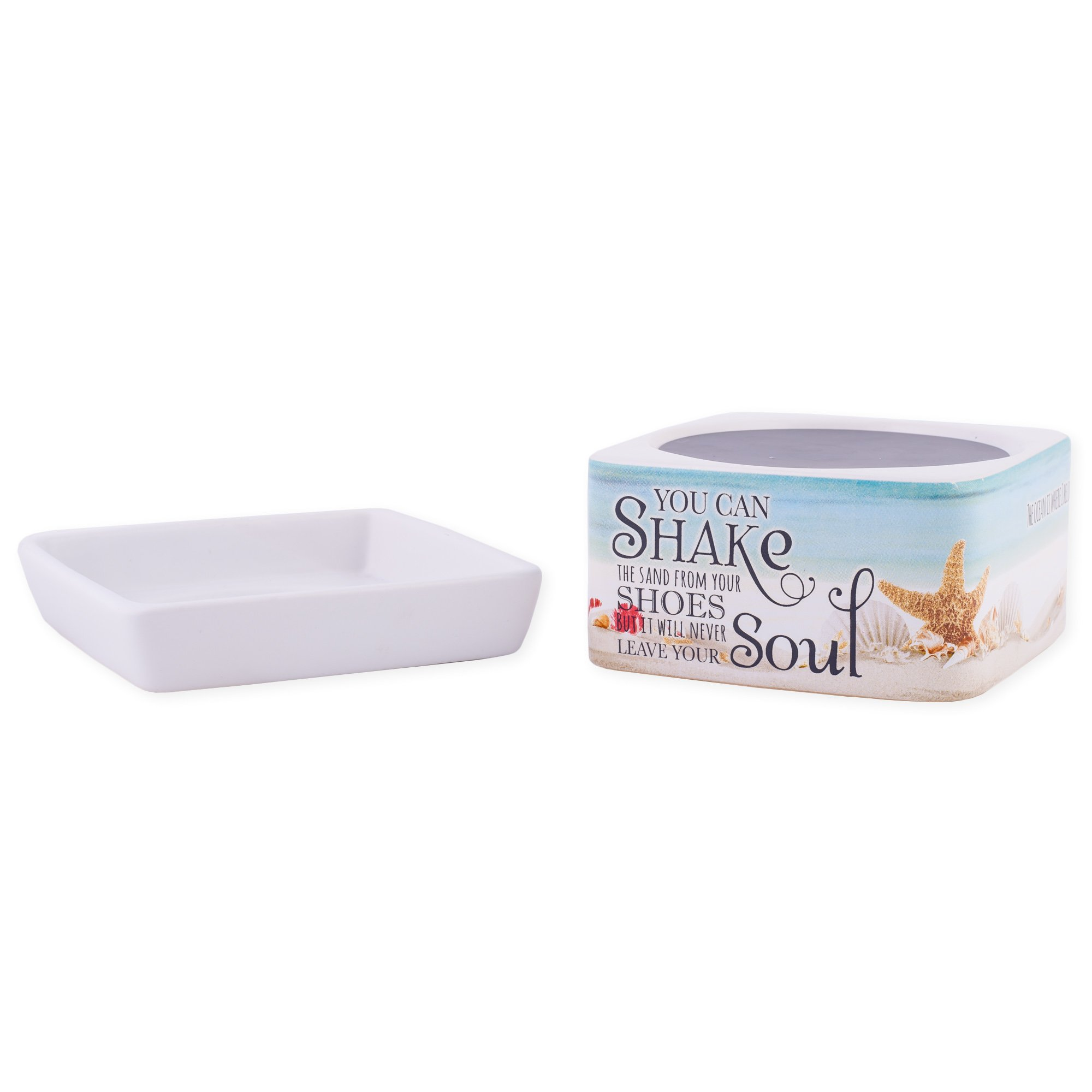 Shake Sand from Shoes White Stoneware Electric 2-in-1 Jar Candle and Wax Tart Oil Warmer by Elanze Designs (Image #5)