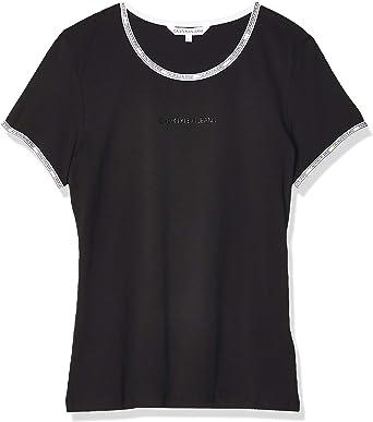 Calvin Klein Logo Trim SS Top Camisa para Mujer: Amazon.es: Ropa y accesorios
