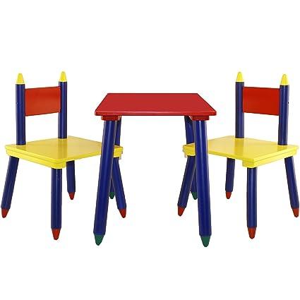 Amazon.com: 3 piezas Juego de sillas y mesa (Crayon Mueble ...