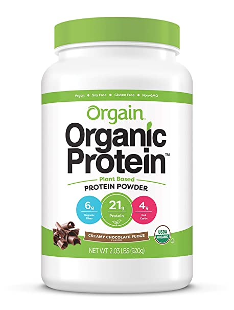 Amazon.com : Orgain Organic Plant Based Protein Powder, Creamy Chocolate Fudge - Vegan, Low Net Carbs, Non Dairy, Gluten Free, Lactose Free, No Sugar Added, Soy Free, Kosher, Non-GMO, 2.03 Pound : Grocery & Gourmet Food
