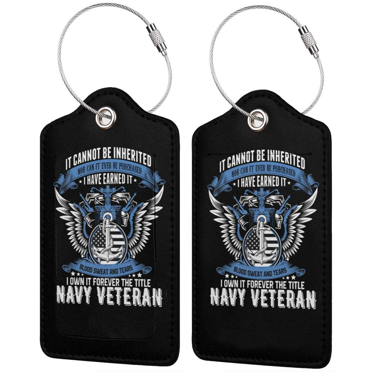 United States Navy I Have Earned It Leather Luggage Tag Travel ID Label For Baggage Suitcase