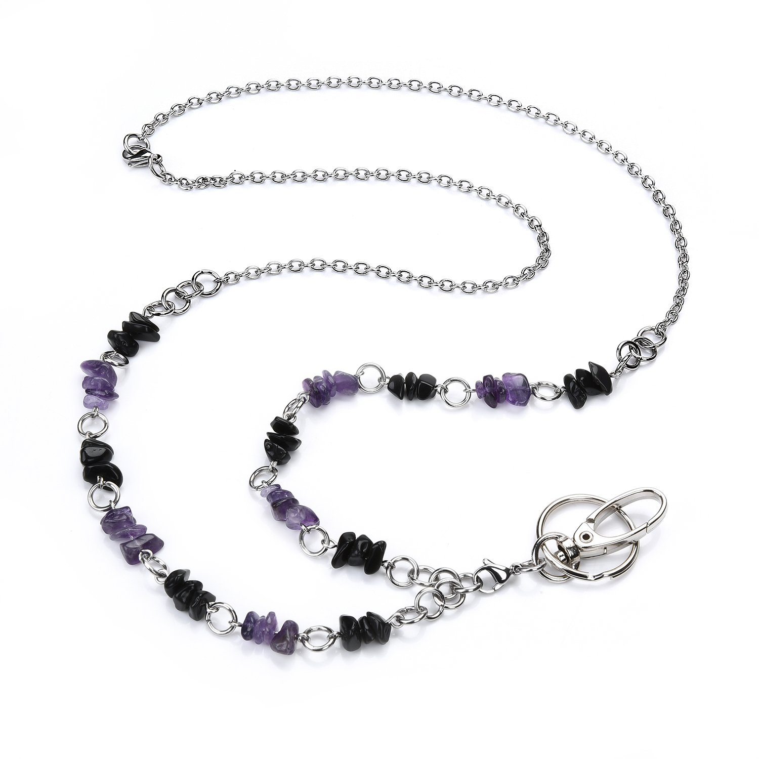 LUXIANDA Purple Natural Crystal Beads Lanyard for Nurse, Teacher and OL,Unique Design Office Lanyard with Stainless Steel Chain for ID Keys, Badge Holder