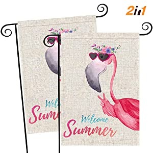 FUNNISM 2 PCS Flamingo Vertical Garden Flags, Double Sided Welcome Summer Flamingo Burlap Banners, Garden, Yard, Porch, Lawn, Farmhouse, Beach, Holiday Party, Summer Outdoor Decorations(12.5'' x 18'')