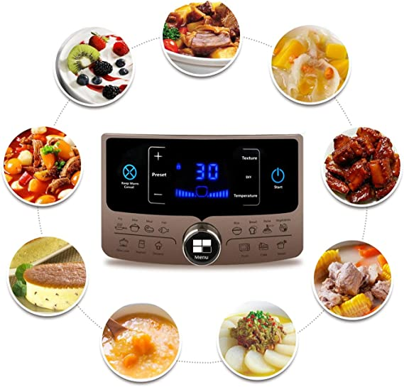 Aigostar Panda 30HGZ - Olla a presión multifunción y cocinado lento, 14 funciones programables con gran panel LED, recipiente en acero inoxidable de 6 litros, potencia de 1000 watios,calidad exclusiva: Amazon.es: Hogar