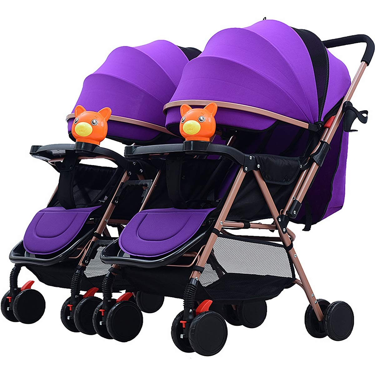 Eustoma Folding Twin Stroller, Foldable Lightweight Carriage Sit Reclining Double Stroller with Awning and Shock Absorber Function,Purple
