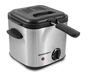Elite Gourmet EDF1550 Electric 1.5 Qt. / 6 Cup Oil Capacity Deep Fryer, Adjustable Temperature, Removable Basket, Lid with Viewing Window, Stainless Steel