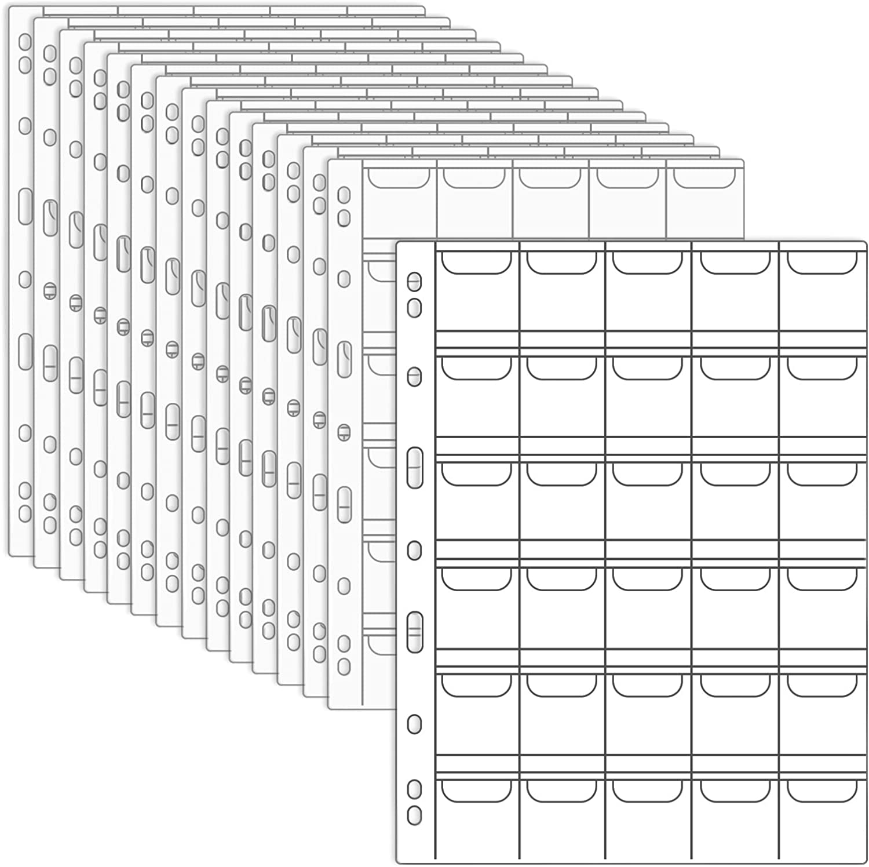 20 páginas de plástico para monedas (8 x 11 pulgadas, 15 hojas)