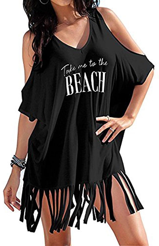 108f842dd2ef8 Happyyip Womens Beach Wear Bikini Cover up Swimsuit T Shirt (One Size,  Black take me The Beach) at Amazon Women's Clothing store: