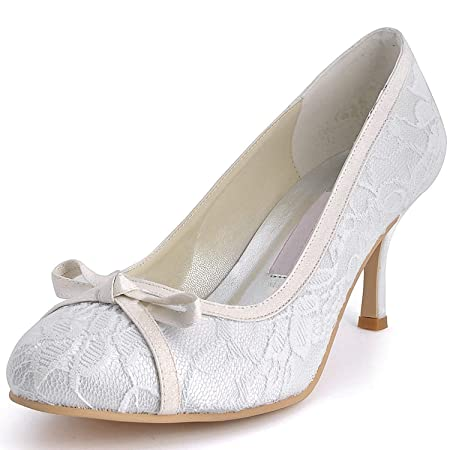 6bf38aad4dc HhGold Womens MZ569 Round Toe High Heel Knot Lace Bridal Wedding Shoes Pump  (Color   Ivory-7.5cm Heel
