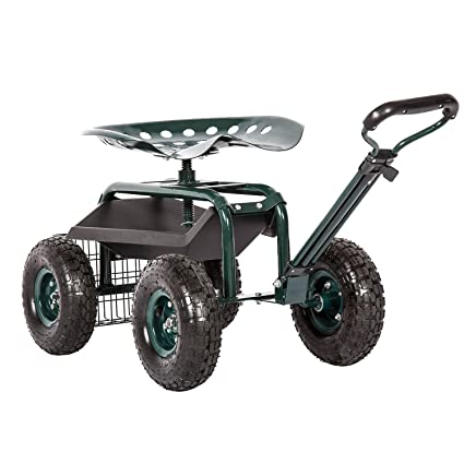 Kinbor Garden Cart Rolling Work Seat Outdoor Utility Lawn Yard Patio Wagon  Scooter For Planting,