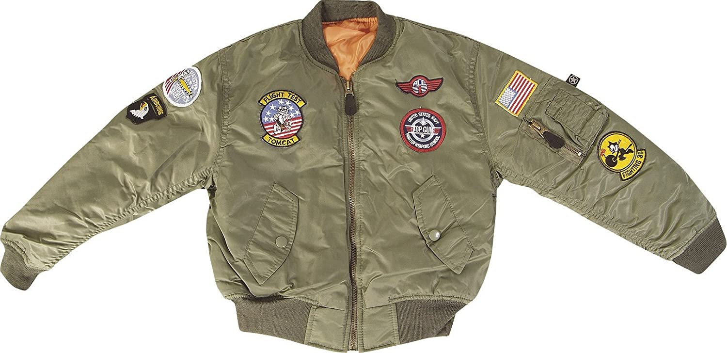 Kids Army MA-1 Flight Jacket - Pilot Jacket Fits Ages 3-12 (Age 9 ...