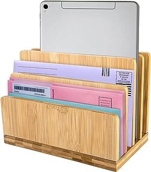 Bamboo Mail Organizer, 4 Slots Desktop Organizer, Vertical File Organizer for Desk Letter/Envelope/Mail/Paper/Folder/Bill Holder for Office & Home, Handmade Wooden Mail Organizer Countertop, Office Supplies for Desk Organizer (5.9×9.8)