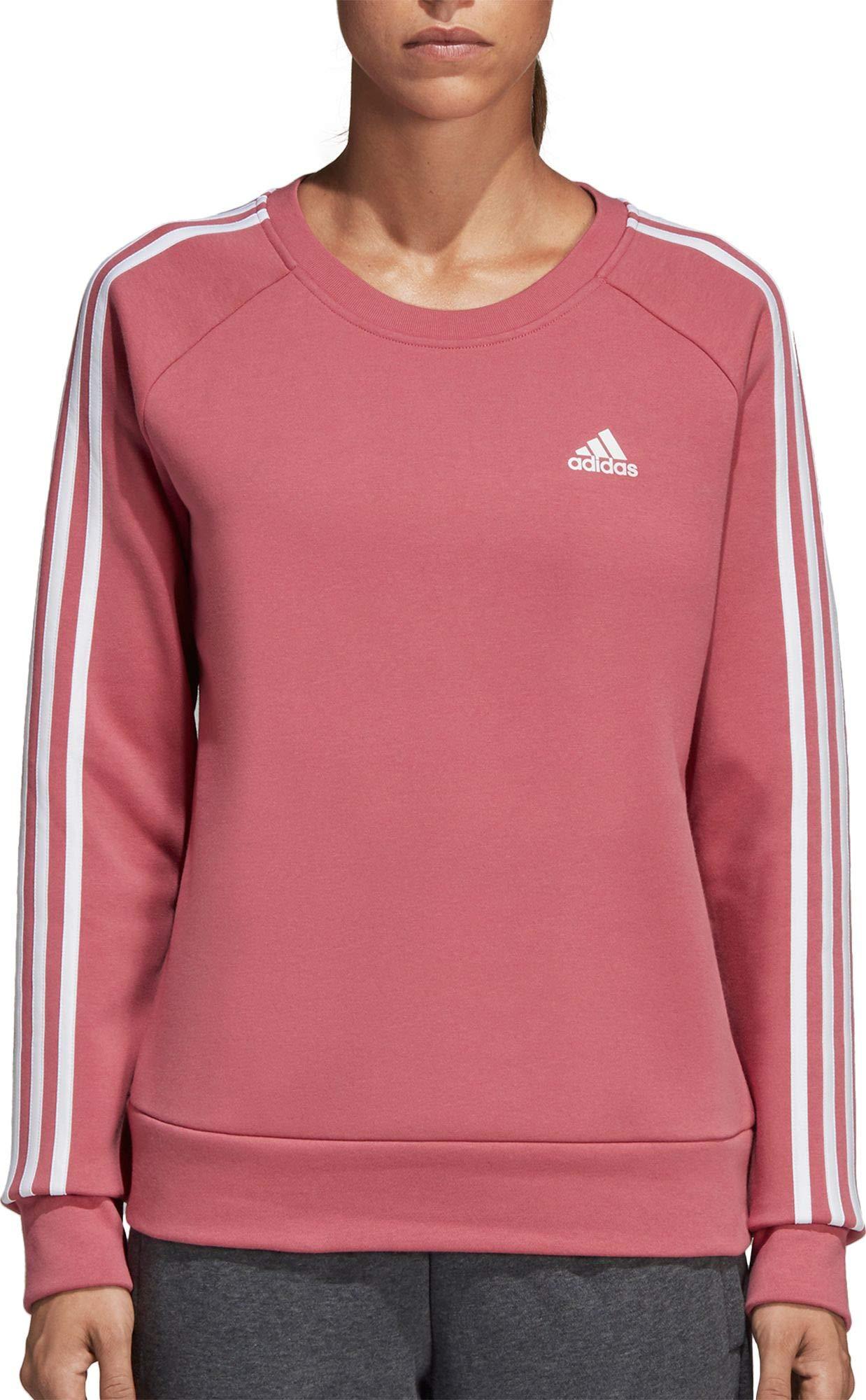 adidas Women's Essentials 3-Stripes Crewneck Sweatshirt (XS, Trace Maroon)