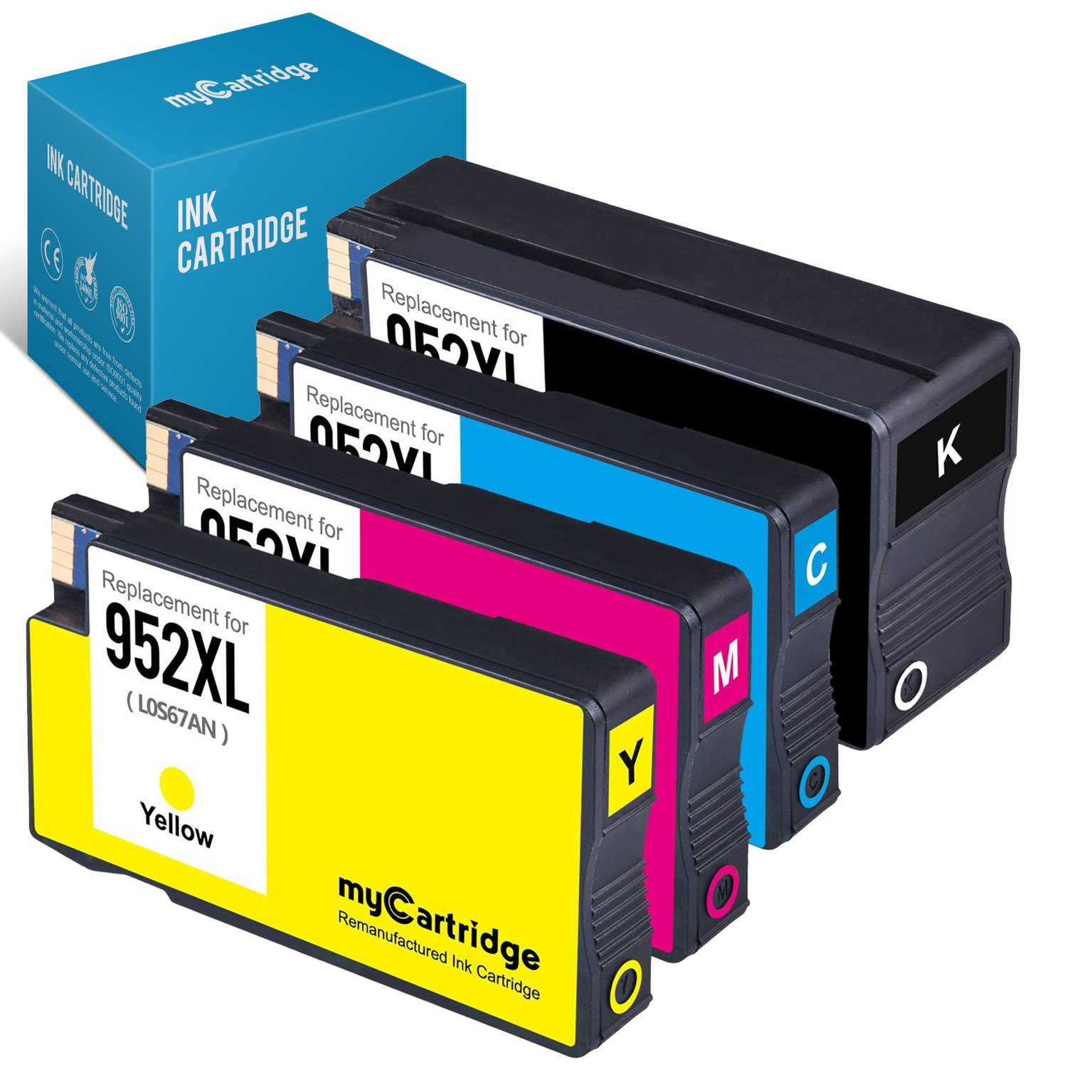 myCartridge Remanufactured Ink Cartridge Replacement for HP 952XL ( Black,Cyan,Magenta,Yellow , 4-Pack )