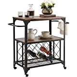 """O&K FURNITUREIndustrial Rolling Bar Serving Cart with Wine Rack, 30""""W x 18.1"""" D Kitchen Carts with Wheels and Handle, Rustic"""