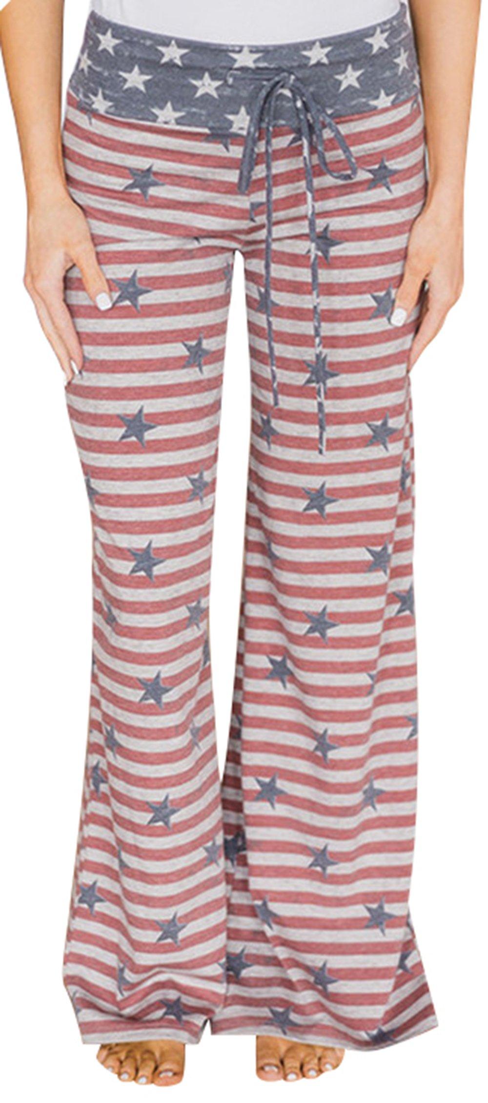 5f90891f52 Sexymee Women s Pajama Bottom Sleep Lounge Palazzo Yoga Pants Striped Wide  Leg