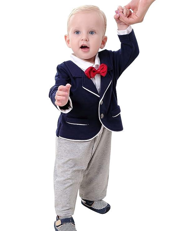 ZOEREA Smoking per bambini Vestiti del neonato battesimo vestito vestito  bambino ragazzo primo compleanno del neonato abbigliamento formale   Amazon.it  ... 91c4223eb2d