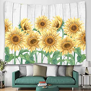 Wooden Board Sunflower Print Tapestry Wall Hanging Art Floral Tapestries Home Decor for Living Room Bedroom Kitchen Dorm 59.1W X 51.2L Inch,Yellow