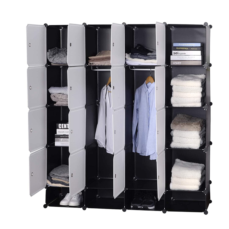 Jouets Livres,Chaussures,14 Cubes Blanc Noir Accessoires WOLTU SR0090sw Armoire Plastique Chambre Faite de modules avec 2 Tringle /à v/êtements pour Le Stockage de v/êtements