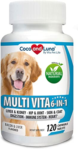 Multivitamin for Dogs – Glucosamine Chondroitin for Joint Support, Milk Thistle for Dogs, Omega 3, Probiotics Enzymes, Immune Support for Dogs Vitamins. 120 Natural Chew-able Tablets.