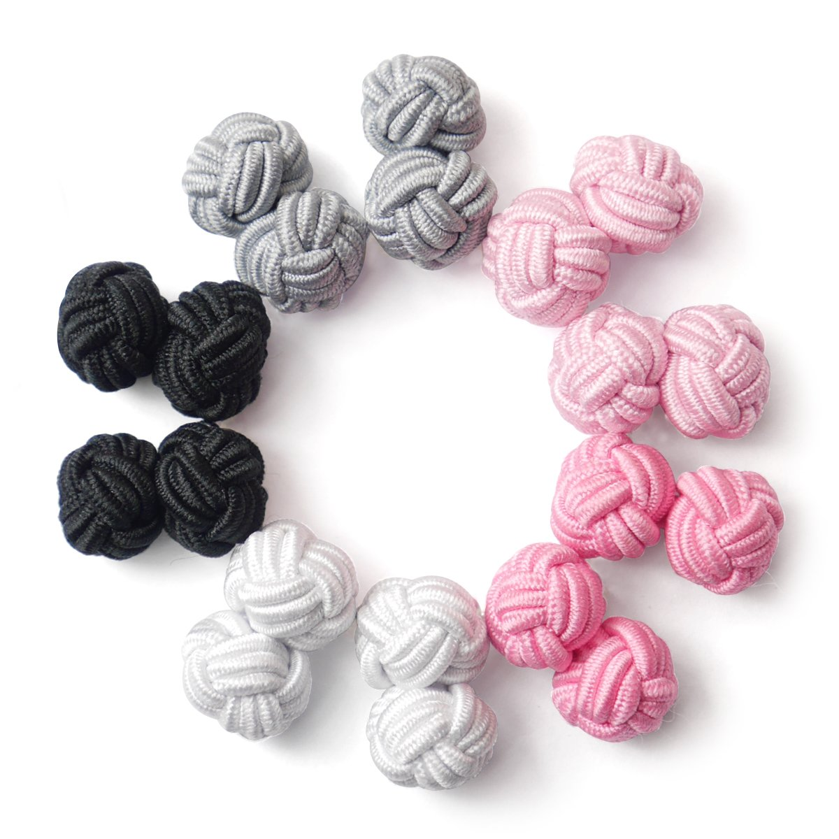 HONEY BEAR Silk Knot Fabric Cufflinks 5 Pairs Set for Mens Shirt Gift