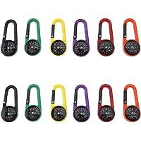 12 Stks Carabiner Kompas Clip Outdoor Zelfsluitende Wandelen Camping Sleutelhanger Multi kleuren