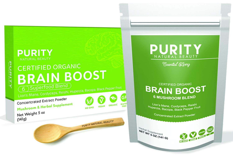 Brain Boost Genius Mushroom Powder - 6 Organic Nootropic Powders (Lions Mane, Cordyceps, Reishi, Huperzia Serrata, Bacopa Monnieri & Black Pepper Fruit), Boost Immunity, Memory and Focus, Vegan