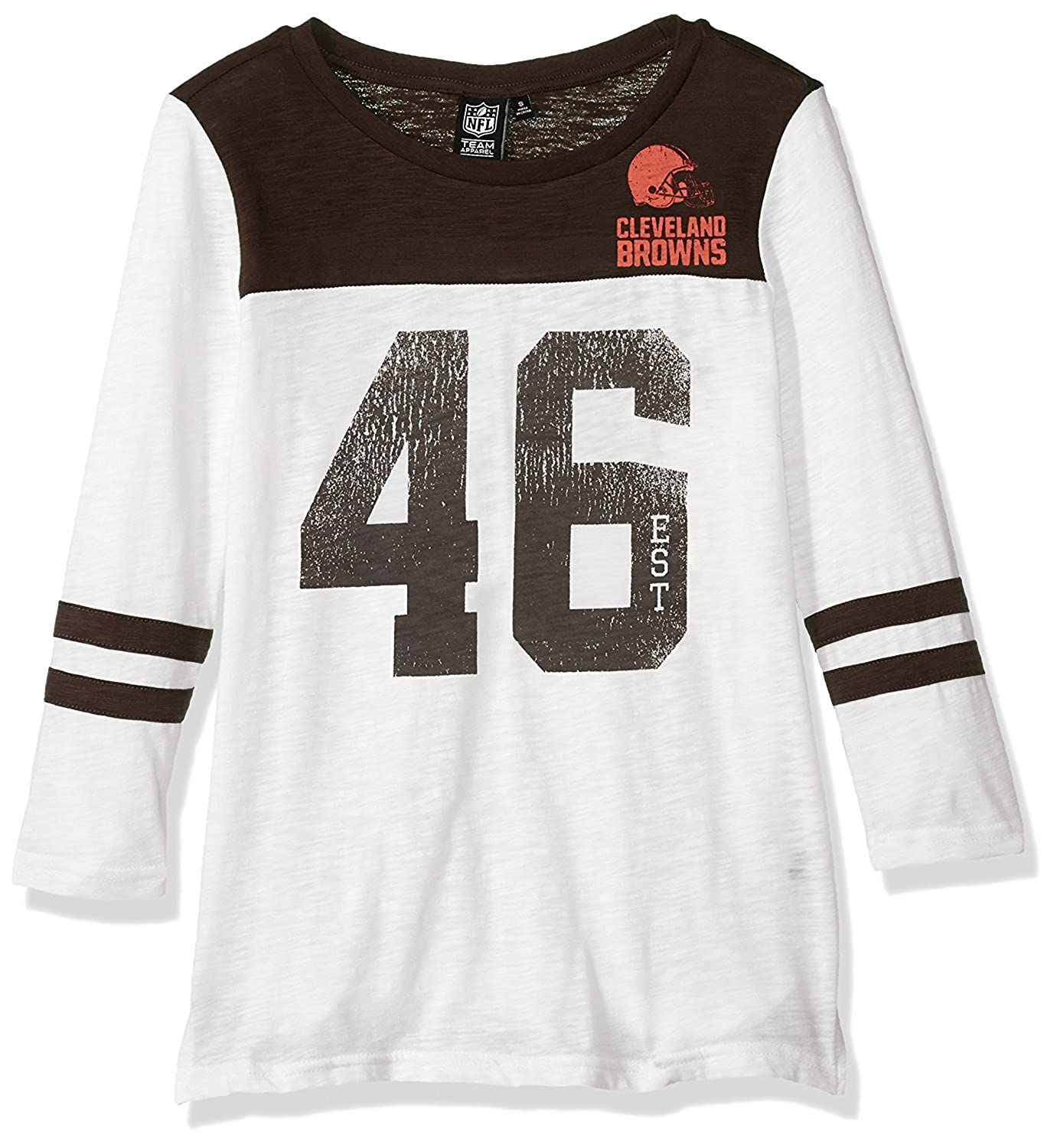 07c2262b Ultra Game NFL Cleveland Browns Women's Vintage 3/4 Long Sleeve Tee Shirt,  White, Large