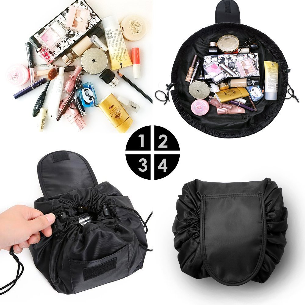 Fashion Cosmetic Bag Large Capacity Lazy Makeup Toiletry Bag Multifunction Storage Portable Quick Pack Waterproof Travel Bag (Black) by VOJUAN (Image #5)