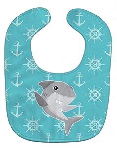 "Caroline's Treasures BB6940BIB Shark on Blue Nautical Baby Bib, 10 x 13"", multicolor"