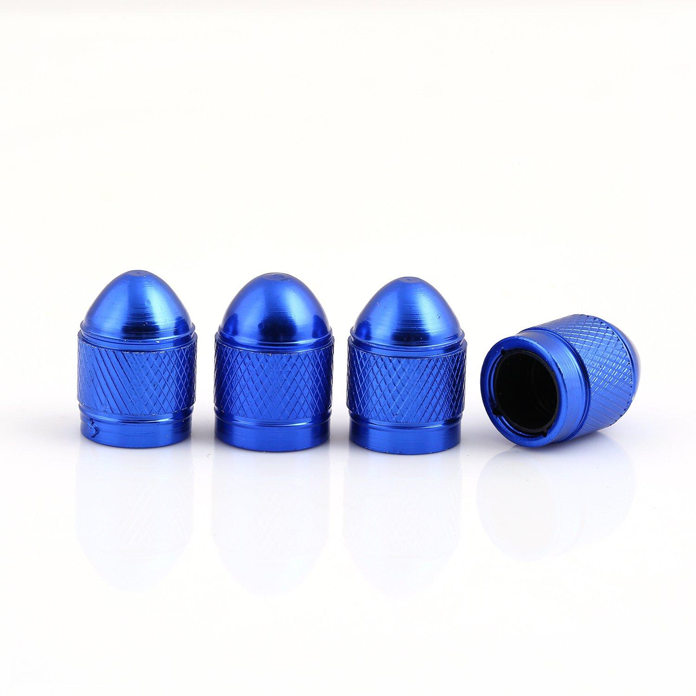 Blue Car Tire Valve Stems Cap Bullet Style Tire Valve Cap from Godeson, 4 Pcs/Set , aluminum Tire Wheel Stem Air Valve Caps for 8V1 US schrader valve, Dustproof Caps Ningbo Godeson Instrument Tech Co. Ltd