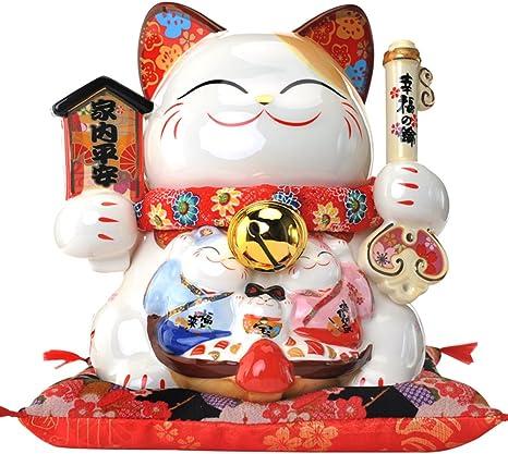 Black Temptation 4.5 Pollici Giapponese Lucky Cat Ceramica di Alta qualit/à Maneki Neko Piggy Bank A