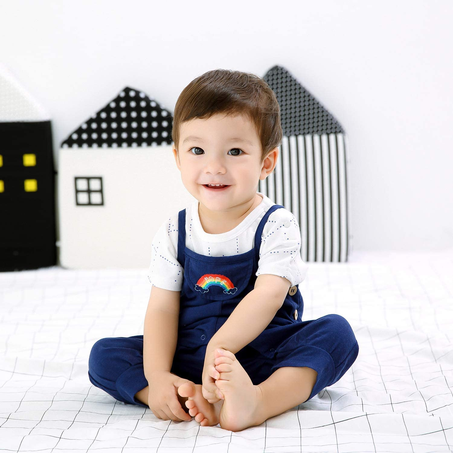 pureborn Baby Boy Stripes Cartoon Jumpsuit Toddler Kids Overalls Pants Outfits
