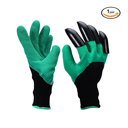 Garden Genie Gloves with Fingertips Claws DIWENHOUSE Waterproof Gardening Yard Work Gloves for Digging Weeding Seeding Poking Rose Pruning Gloves Mittens Digging Gloves 2 Pairs