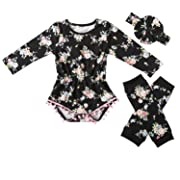 Messy Code Baby Girls Rompers Onesies Pompom Jumpsuits set,Boutique Black Vivid Pink Flower X-Small / 3-6Month