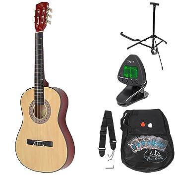 Guitarra clásica para niños completa con accesorios. Calidad Estándar. Color madera natural. Tamaño 3/4.