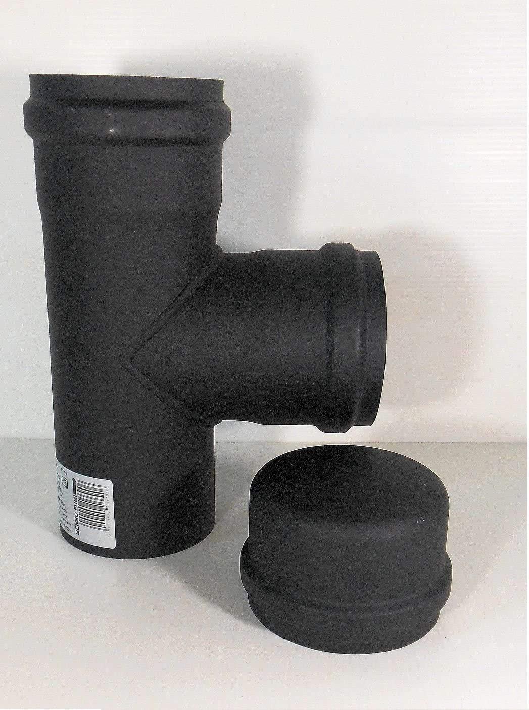 Empalme en T para conductos de  evacuación de gases - Diámetro de 80mm - Para estufa de pellets, chimenea