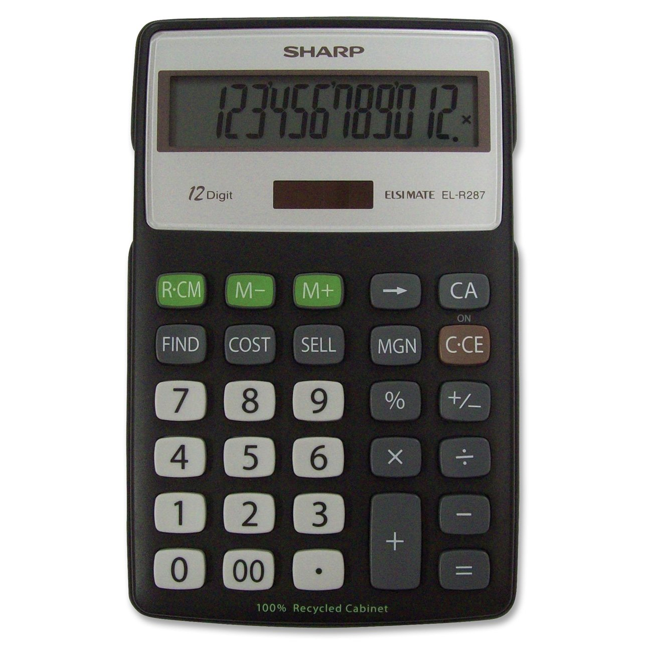 Sharp Calculators EL-R287BBK 12-Digit Recycled Plastic Cabinet Calculator - Black