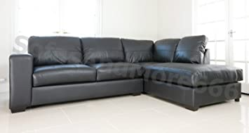 WESTPOINT - CORNER SOFA - REAL LEATHER - RIGHT HAND SIDE (black ...