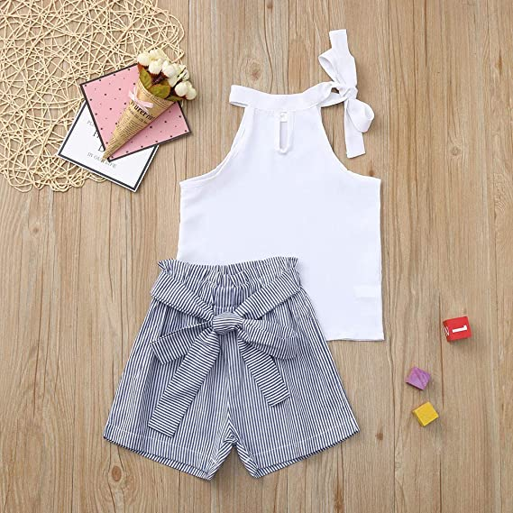 RYGHEWE Toddler Little Baby Girl Cotton Sleeveless Floral Strap Tops Solid Shorts Pant 2PC Set Outfit