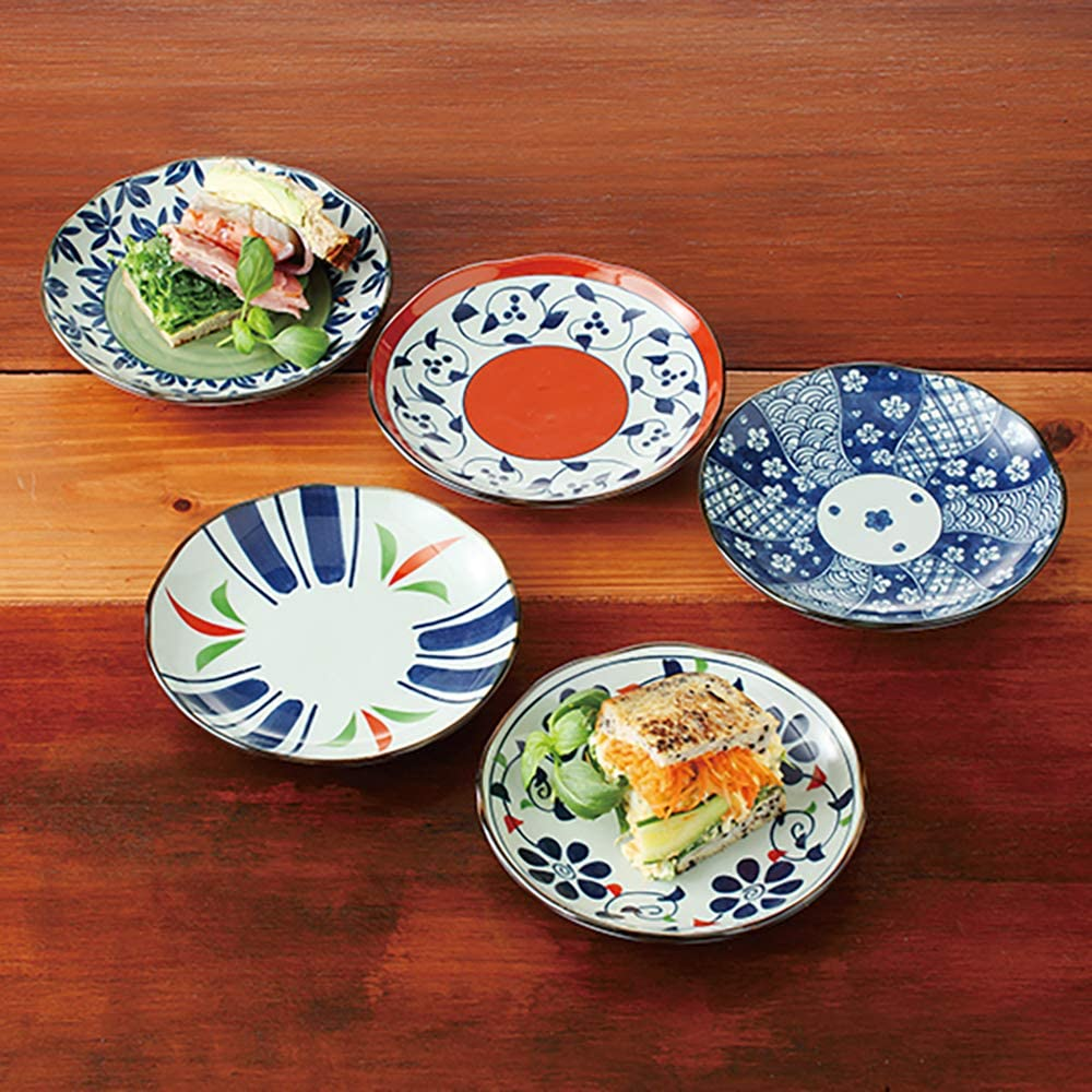 Traditional Japanese Hasami-yaki Porcelain Plates Set of 5 Made in ...