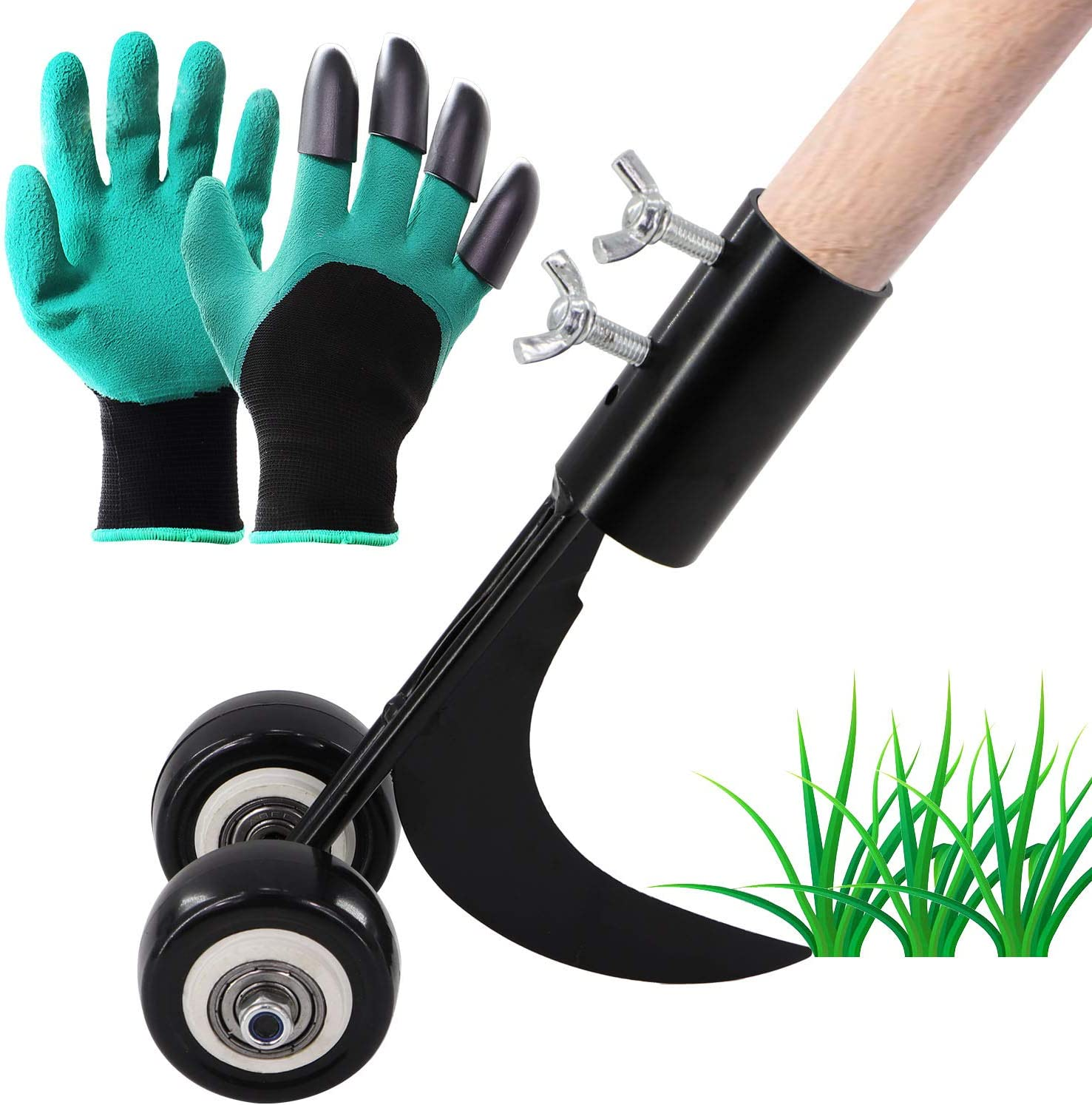 Wistwoxxon Crevice Weeder, Manual Weeder with 1 Pair Garden Gloves, Gap Weeder Tool for Garden, Hand Weeder Tool Without Rod, Wheel Type Weeding Tools, Sickle Hook