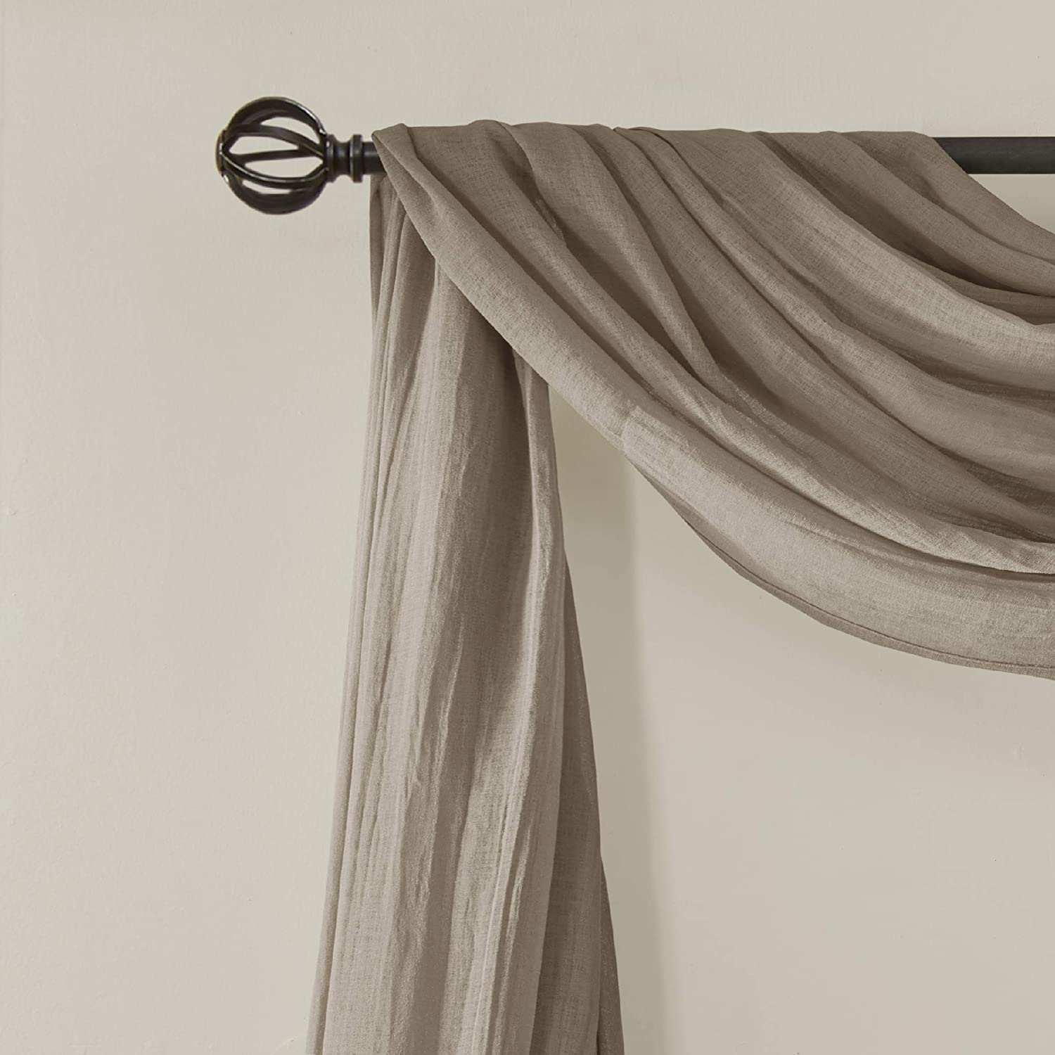 "Madison Park Harper Sheer Bedroom, Modern Contemporary Window Curtain for Kitchen, Solid Fabric Panels, 42"" x 216"", Taupe: Home & Kitchen"