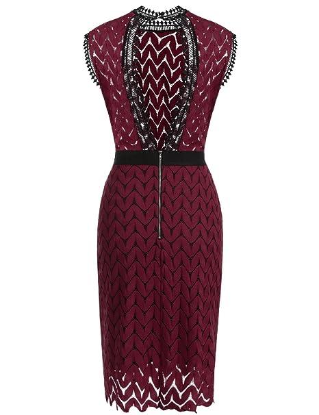 Meaneor Vestido Vintage Elegante de Mujer Eespalda Descubierta Rojo Oscuro XL