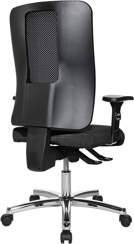 Topstar Open X (N) Chaise de Bureau avec Housse en Tissu Chromé Taille Unique, Housse en Tissu Revêtement Style Filet, Noir/Noir, Taille Unique