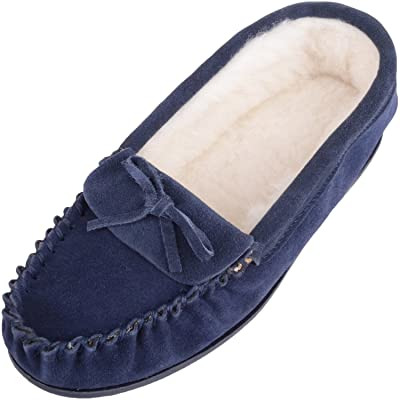 SNUGRUGS Ladies/Womens Suede Sheepskin Moccasins/Slippers with Wool Lining | Slippers