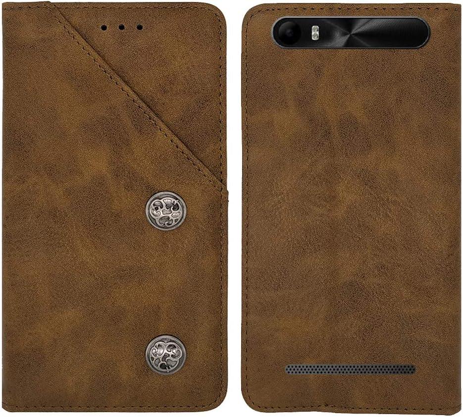 TienJueShi Bleu Veritable Cuir Housse T/él/éphone Case Konrow Just5 5 inch Coque /Étui Cas Couverture Protecteur Cover Portefeuille