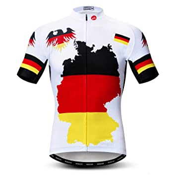 a9868b132 weimostar Men's Cycling Jerseys Tops Biking Shirts Short Sleeve Full Zipper Bike  Clothing Germany White S